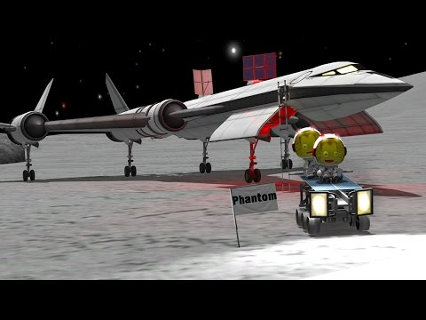 KSP: Mun SSTO with a 6-wheel rover!