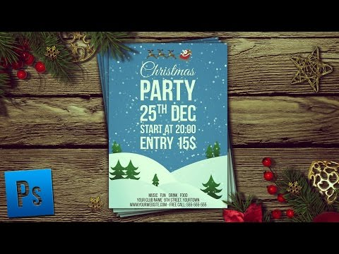 Christmas Party Flyer + PSD - Photoshop Tutorial