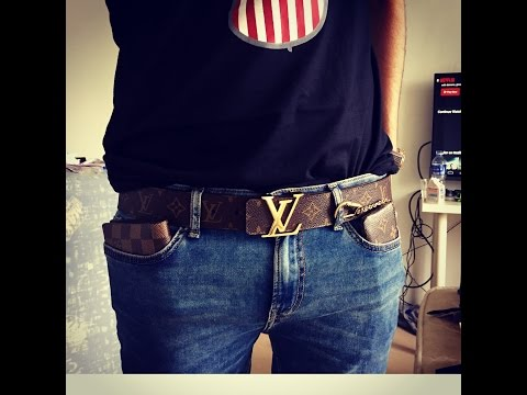 Unboxing Louis Vuitton Monogram style canvas belt with Gold Buckle