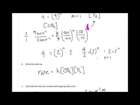 Rate law calculations when one reactant is not held constant