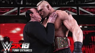 WWE 2K18 - Top 10 Funny Entrances Ft Roman Reigns, Brock Lesnar, Paul Heyman, Mr McMahon & More!