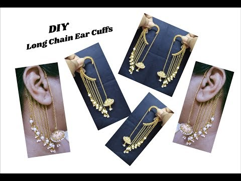 Long Chain Ear cuffs DIY Craft | Making with link chain | jewellery tutorials