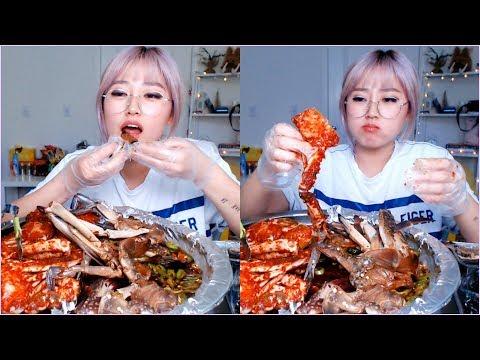 Spicy&Soy Flavor Marinated Blue Crab Mukbang~ | KEEMI★