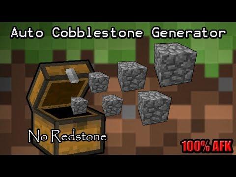 Minecraft How To - Fastest Cobblestone Generator Tutorial (100% AFK) (No Redstone)