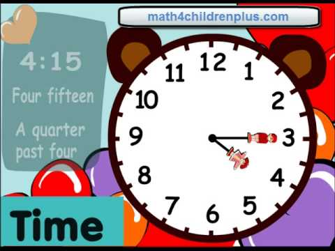 Telling time fifteen minutes or quater past the hour - Fun clocks for kids to learn time.