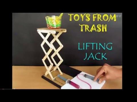 LIFTING JACK - ENGLISH - Hydraulic Jack! from Ice Cream Sticks