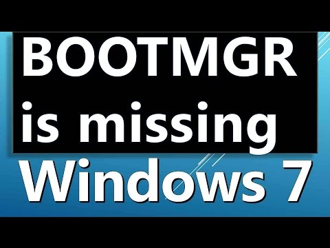 BOOTMGR is missing usb windows 7 fix how to solve it
