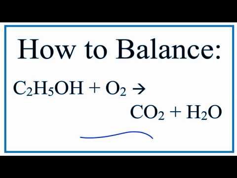 Balance C2H5OH+O2 = CO2 + H2O (Ethanol and Water)