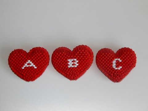 3D origami smal heart letters A - H DIY paper heart letters A -H