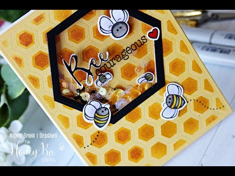 Honey Bee Stamps | Bee Courageous Hexagon Shaker Card