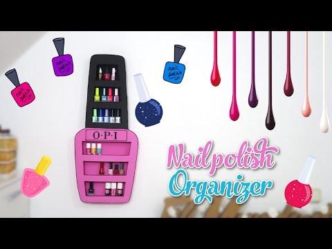 nail polish organizer DIY - nail polish rack with cardboard box - decor crafts
