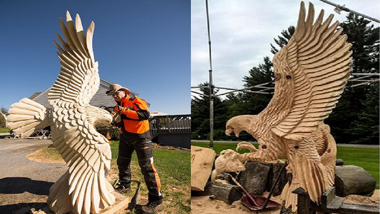 Amazing Fastest Skills Chainsaw Wood Carving, Incredible Woodworking ideas Easy