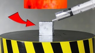 EXPERIMENT Glowing 1000 degree HYDRAULIC PRESS 100 TON vs Gallium