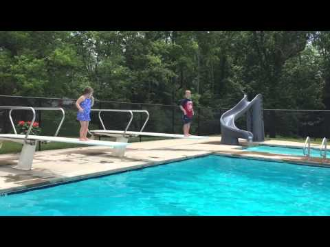 Jake and Lily jumping off diving board 6-15-15