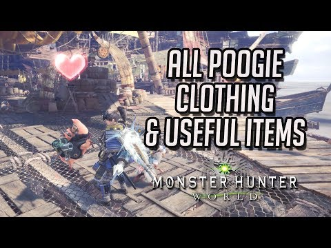 Monster Hunter World: All Poogie Clothing & Useful Items (Dung, Meal Voucher, etc.)