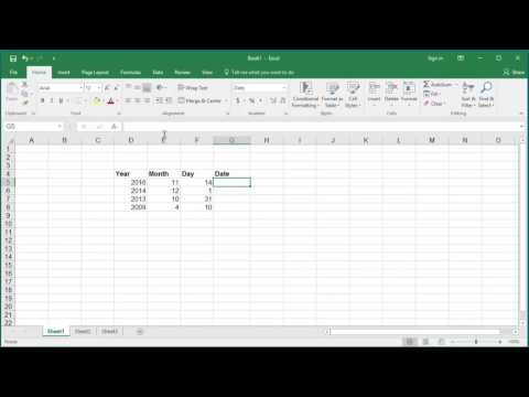 How to Create Date from year month day in Excel 2016
