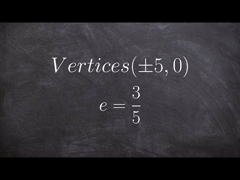 When given the vertices and eccentricity find the equation of an ellipse