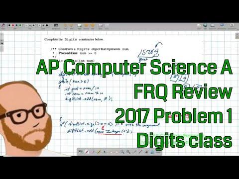 Computer Science A 2017 FRQ Problem 1