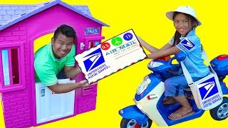 Download Wendy Pretend Play w/ Post Office Mailbox Kids Dress Up Mail Carrier Costume Toys Video