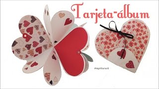 Te enseño a hacer esta tarjeta-álbum desplegable con forma de corazón para regalársela a alguien especial en San Valentín o en cualquier fecha especial. SUSCRíBETE GRATIS ➜ http://goo.gl/4BS2M9 ➜ COMPARTE, dale a ME GUSTA y  COMENTA el vídeo.  ➜ ¿Qué mas puedes ver?: https://goo.gl/9IBc02  ➜ Sígueme en:  ✓ MI CANAL EN INGLÉS: https://goo.gl/cguFjL ✓ MI BLOG: http://maynterest.blogspot.com.es/ ✓ FACEBOOK: https://www.facebook.com/maynterest ✓ INSTAGRAM: http://instagram.com/maynterest/ ✓ TWITTER: https://twitter.com/maynterest ✓ GOOGLE+: google.com/+maynterest ✓ PINTEREST: http://www.pinterest.com/maynterest/ ✓ WE HEART IT: http://weheartit.com/maynterest.