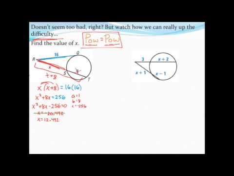 Finding segment lengths of secants and tangents (with the Quadratic Formula)