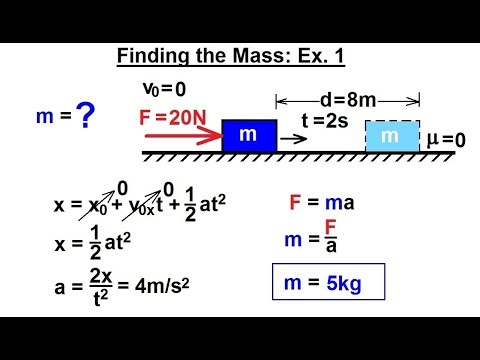 Physics - Mechanics: Newton's Laws Examples (21.1 of 25) Finding the Mass: Ex.1 (ERROR FIXED)