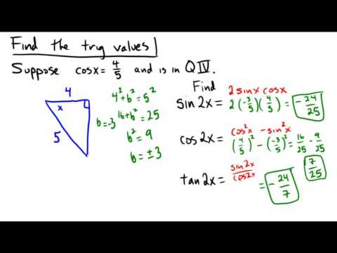Finding the values of double angles from a reference triangle