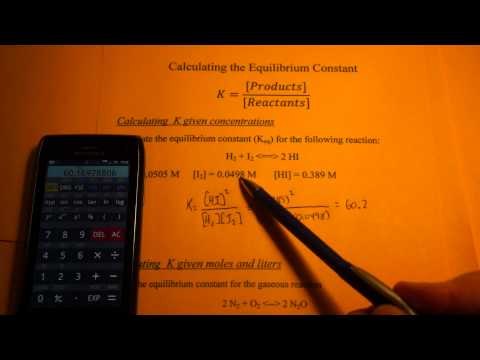 Calculating the Equilibrium Constant (from Molarity and from mole & liters)