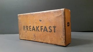 1945 WW2 US K Ration Breakfast MRE Review 70 Year Old Pork & Eggs Meal Ready To Eat Unboxing