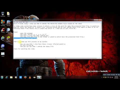 HOW TO UNHIDE THE PROTECTED HIDDEN FILES CAUSED BY THE VIRUS