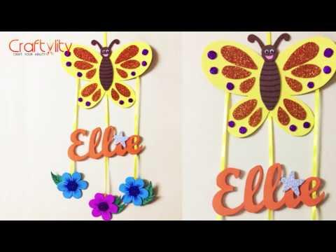 DIY Door Name Plate for Kids Room   Foam Craft   Wall hanging   Kids Craft