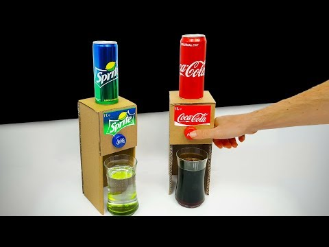 DIY How to make Coca Cola Sprite Dispenser from Cardboard