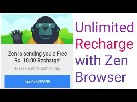 zen browser | free talktime | earn money with andriod | Unlimited Recharge with Zen Browser-[Hindi]