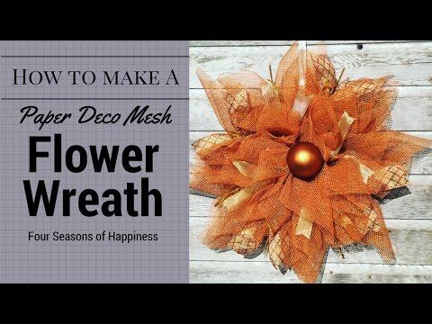 Deco mesh flower tutorial, how to make a flower wreath, deco mesh flower, flower deco mesh wreath
