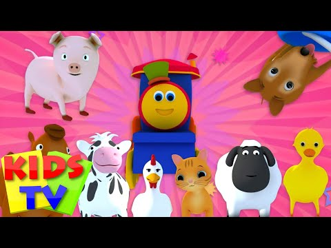 Bob The Train | Went To The Farm | kids tv shows | Old MacDonald | Animal Sounds Song