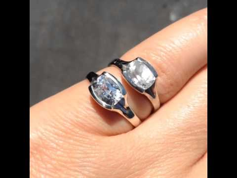 Clean vs. dirty white sapphire engagement ring