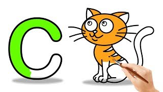 C For Cat |Alphabet Song |Phonics Song | How to Draw Cat Coloring Videos For Kid Children & Toddlers
