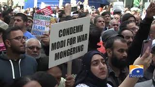 Zulfi Bukhari condemned Modi Govt's action against occupied Kashmir at massive rally in London