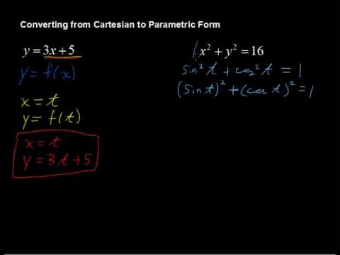 Converting from Cartesian to Parametric Form (How to) - Algebra Tips