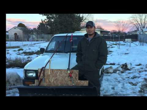 Homemade snow plow on toyota pick up