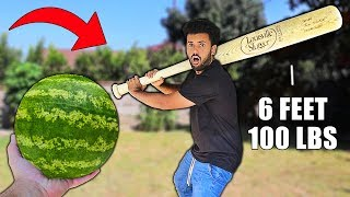 CRUSHING SATISFYING THINGS With A GIANT 100LBS BASEBALL BAT!!! *WORLD RECORD SIZED*