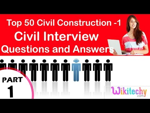 Top 30 Civil Construction -1 Technical Interview and Questions Answers for Fresher Beginners