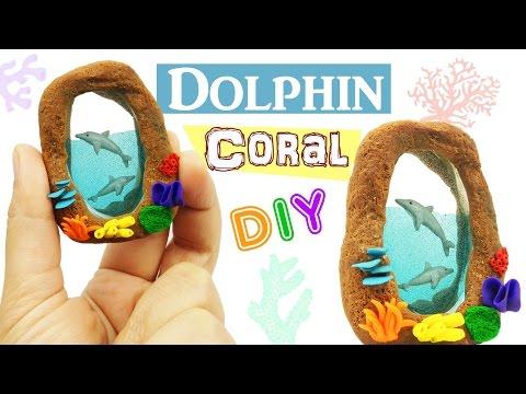 DIY MINIATURE DOLPHINS  ENVIRONMENT Polymer Clay & Resin tutorial - how to make dolphin aquarium
