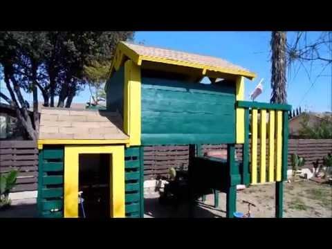 Wood pallet playhouse.