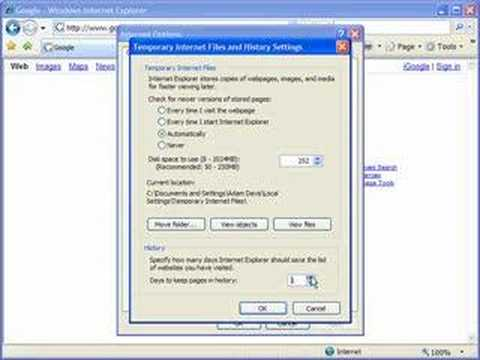 Delete and manage browsing history in IE7