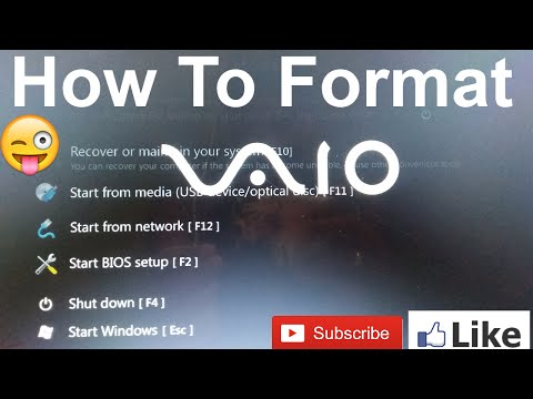 How to Format or install windows-10 on sony Vaio laptop by USB...?
