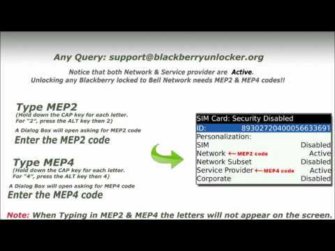 Unlock Blackberry Bold 9700 (Canada-Bell ) with MEP4 & MEP2 code