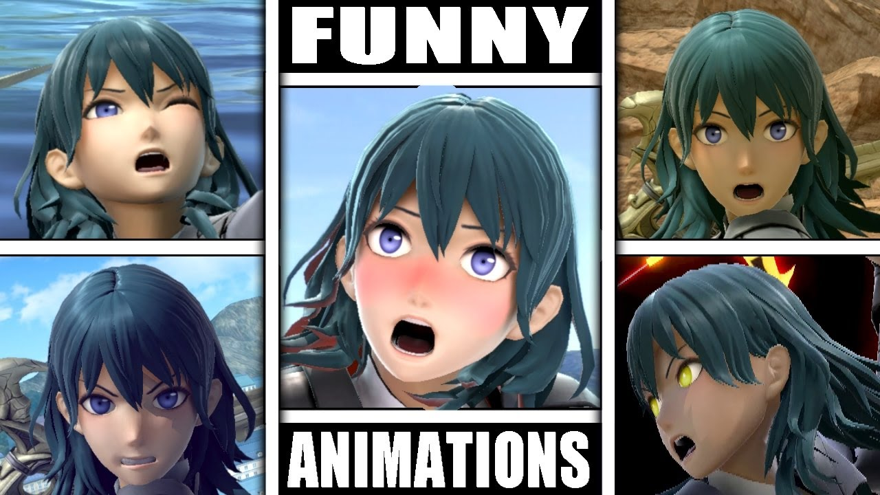 Byleth Various FUNNY ANIMATIONS in Smash Bros Ultimate (Drowning, Dizzy, Star KO, & More!)