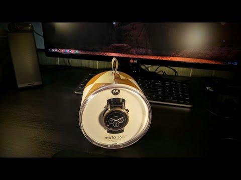 Moto 360 2nd gen Gold & black unboxing ( watch face tour )