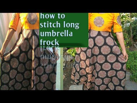 How to stitch long ghagra frock cutting and stitching|| kalamkari latest design dress